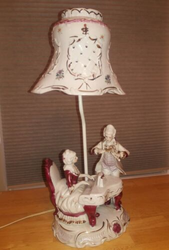 Maroon and White Man and Women Figures Playing Piano Porcelain 20 in Lamp