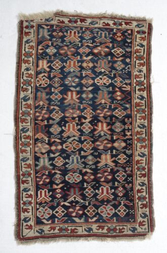 Antique Caucasian 19th century, Small Throw Rug, wool pile, geometric and floral