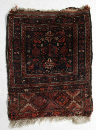 c1920 Turkman Small Throw Rug, wool pile, geometric pattern, in reds, blues