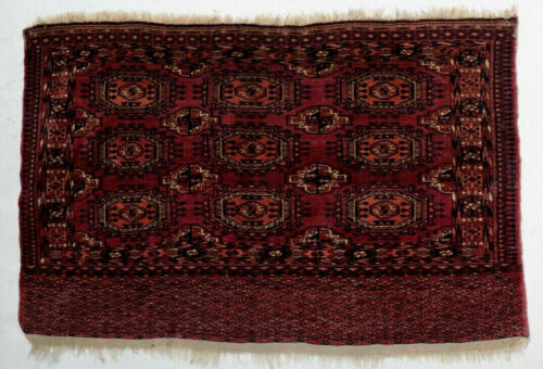 Antique Turkmen Turkoman Rug, wool pile in reds, dark blue black