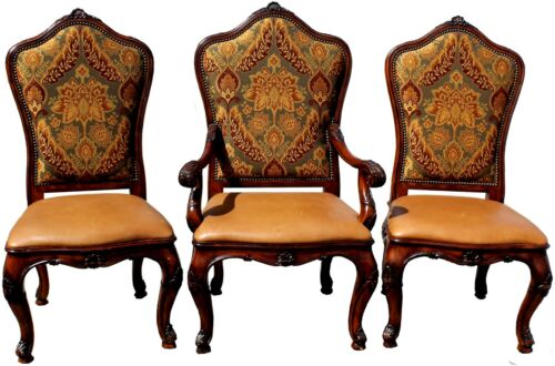 Trio of Vintage Henredon Parlor Chairs w/ Leather Seats & Upholstered Backs