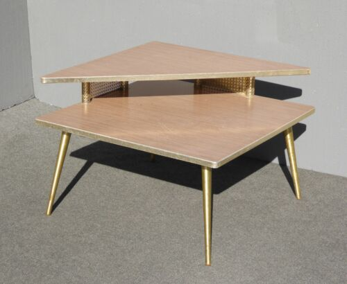 Vintage Mid Century Retro 1960 Corner Table Coffee Table w Brass Peg Legs
