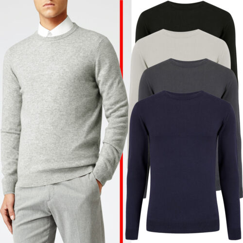 Mens New Cotton Crew Neck Sweater Knitwear Soft Top Pullover Winter Jumper