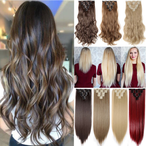 ON CLEARANCE Clip in 100% Real Natural as Human Hair Extensions 8 Pcs  Long Wavy