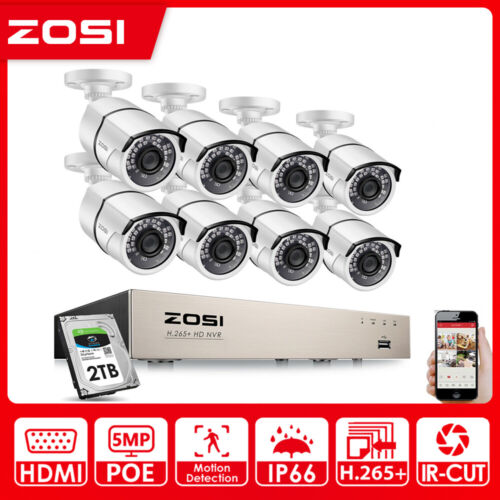 ZOSI HD 1080P 4CH/8CH POE NVR IP Network Security Camera System 2MP Outdoor 2TB
