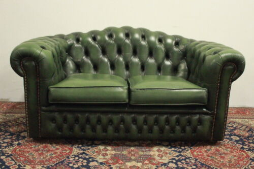Splendido divano chesterfield chester originale inglese 2 posti in pelle verde