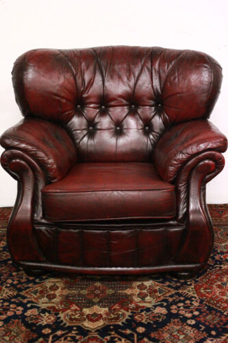BELLISSIMA POLTRONA ALTA PELLE BORDEAUX / INGLESE / ARMCHAIR / ORIGINAL ENGLISH