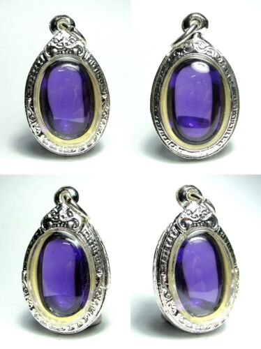 Real Purple Color Naga Eye Gems Silver Case Lucky Crystal Thai Amulet Necklace