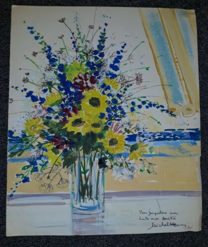 Michel Henry (French 1928-2016) Original Signed Watercolor (1975) Floral in Vase