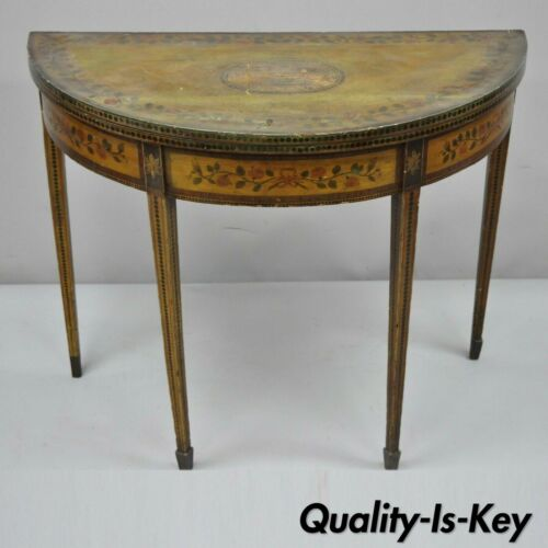 19th C. English Edwardian Polychrome Adams Painted Demilune Console Game Table
