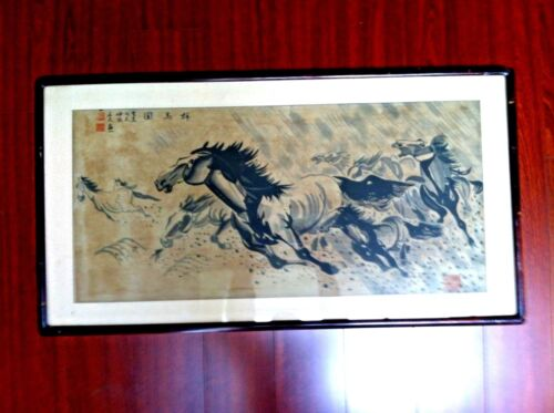 BEAUTIFUL ANTIQUE CHINESE HAND PANTED WATERCOLOR HORSES PAINTING SIGNED