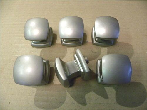 (6) SQUARE PEWTER FINISH DRAWER PULLS / KNOBS -- SCREWS INCLUDED -- SQUARE KNOBS