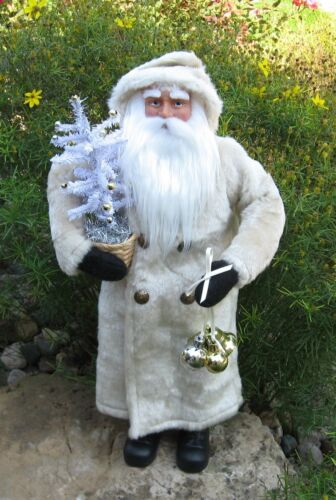 SANTA CLAUS*White Faux Feather Christmas Tree*Primitive/French Country/Decor