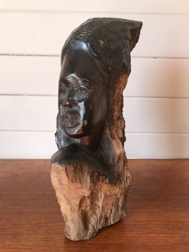 Vintage African Wood Tribal Female Bust Sculpture Carved Statue