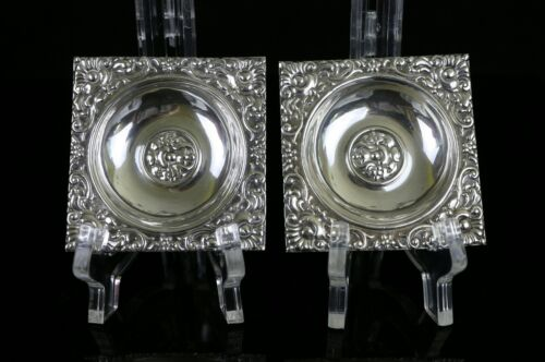 """Set of 2 Egypt 900 Silver Repousse Small 2-3/4"""" Square Dishes  ~ 65.9g"""