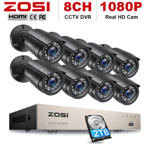 ZOSI 8CH Surveillance Security System 1080P TVI DVR Outdoor CCTV Camera Home 1TB