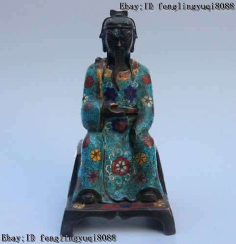 Chinese Royal Copper Bronze Cloisonne Enamel Imperial Court Functionary Statue