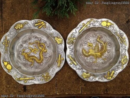 Royal Palace White Copper Silver Eight treasures Dragon phoenix Dish plate Pair