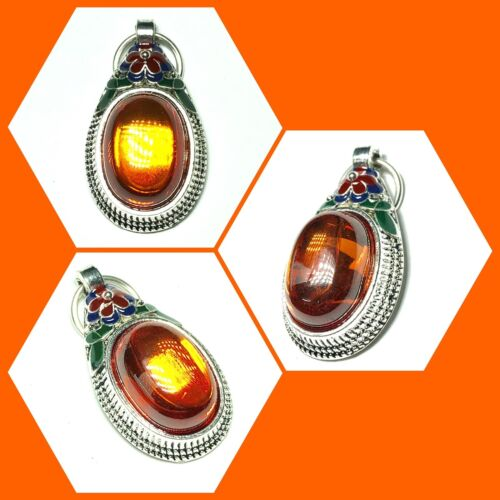 Antique Orange Naga Eye Gems With Case Thai Amulet Buddha Protect Necklace