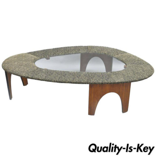 Henry P Glass Intimate Island Suite Walnut Upholstered Mid Century Coffee Table