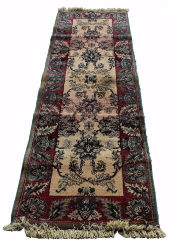 Vintage Green & Red Tea-Dyed Runner Rug, Kharma Collection by Oriental Weavers