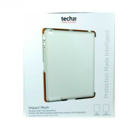 TECH21 CASE FOR IPAD 4 3 2 IMPACT MESH SLIM SHOCK ABSORB CLEAR ORANGE T21-3456