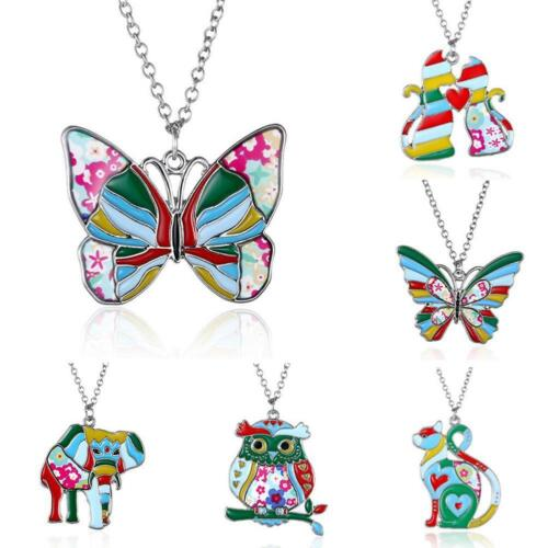 Paint Animal Dragon Butterfly Dog Cat Pendant Necklace Jewelry Gifts For Women
