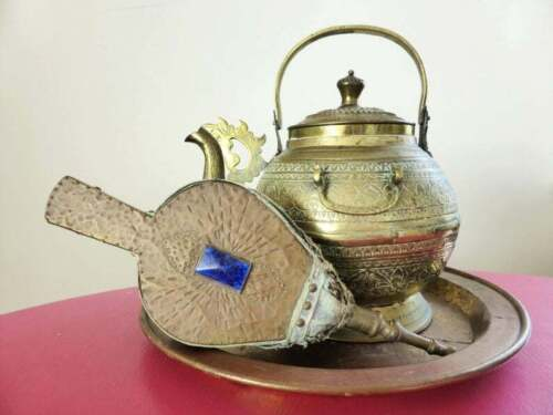 Antique Engraved Brass Kettle, Hammered Copper Fire Bellows and Brass Tray