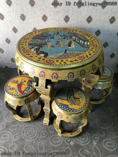 China Copper Bronze Cloisonne Enamel Beauty Woman Pattern Dining Table Stool Set