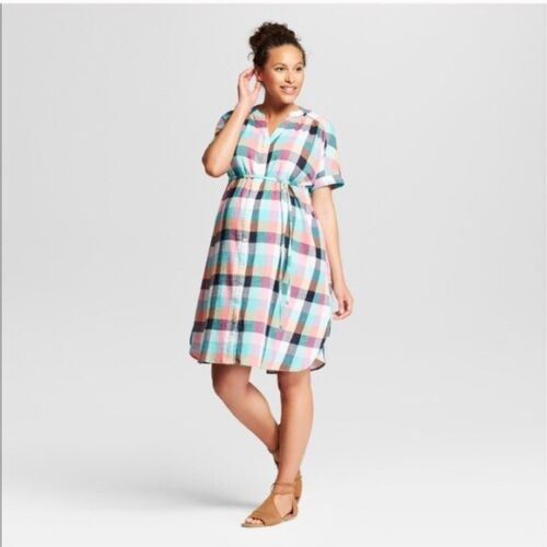 Isabel Maternity Womens Dress Plaid Tie Waist Shirt Dress Short Dolman Sleeve
