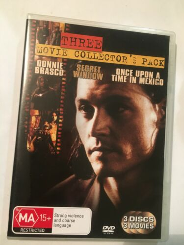 DONNIE BRASCO/SECRET WINDOW/ONCE UPON A TIME IN MEXICO - DVD 3 DISCS - R4 - VGC
