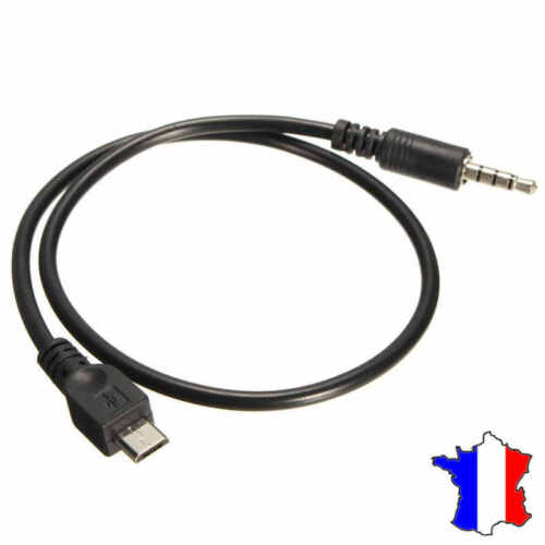 Cable Micro USB vers prise Jack Male 3.5 mm AUX Audio Stereo Adaptateur