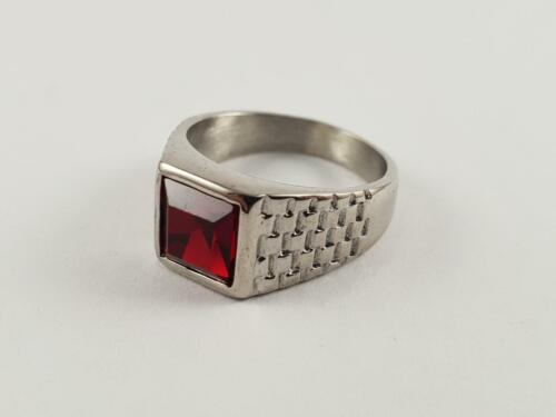 Stainless Steel signet ring with a red stone biker pinky solitaire garnet