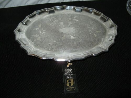 RARE~Waterford IRISH Silver plate Chippendale TRAY w/ BALL & CLAW FEET~Embossed