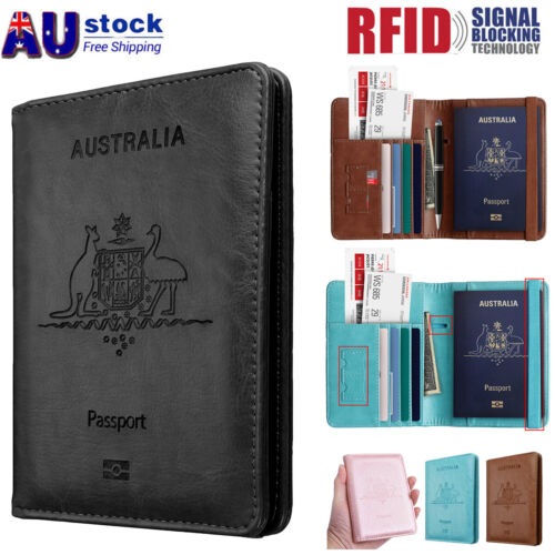 Slim Leather Travel Passport Wallet Holder RFID Blocking ID Card Case Cover AU <br/> AU stock,  fast free ship, 180 days warranty, Brand