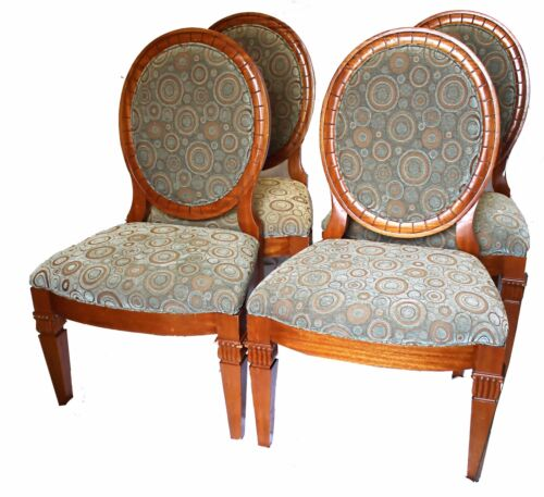 Vintage French Provincial Dining Chairs, with Ostrich Leatherette - Set of Four