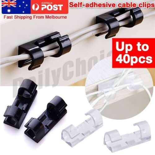 20/ 40 Pcs Cable Clips Self-Adhesive Cord Management Wire Holder Clamp Buckle