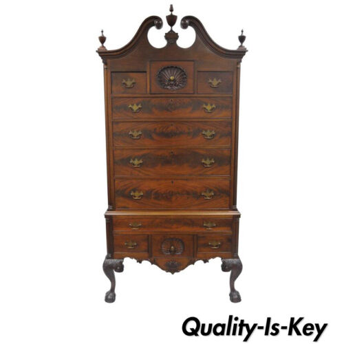 19th C. Crotch Mahogany Chippendale Ball and Claw Highboy Tall Chest of Drawers