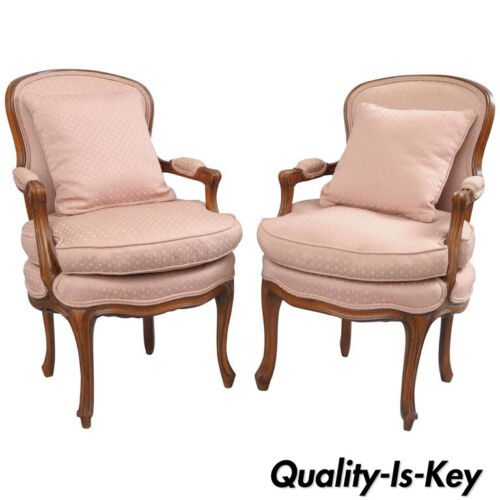 Pair of Country French Provincial Louis XV Style Arm Chairs Pink Carved Walnut