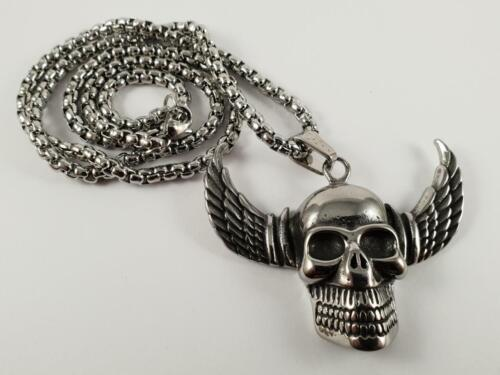 Stainless Steel Skull with wings biker pendant and necklace 60cm chain