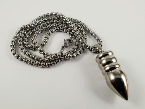 Stainless Steel Bullet biker pendant and necklace 60cm chain pendulum spear