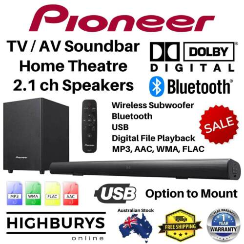 Pioneer TV Sound Bar Home Theatre Speaker Wireless Subwoofer BT Soundbar 2.1ch