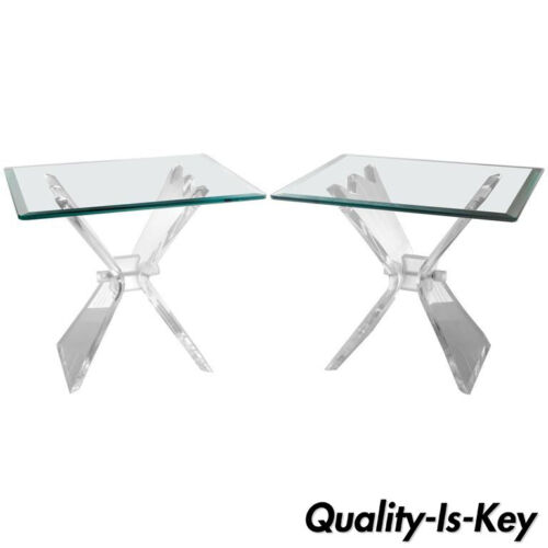 Pair of Mid Century Modern Lion in Frost Lucite Butterfly Glass Top End Tables