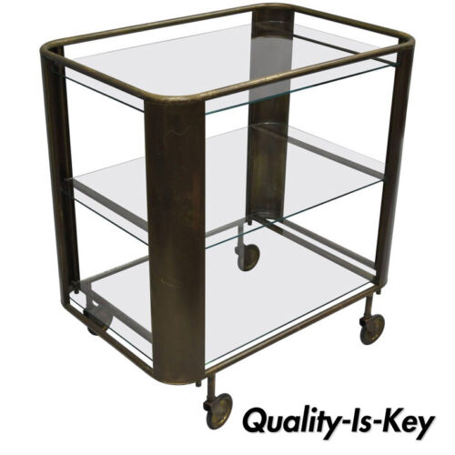 Mid Century Modern Italian Brass and Glass Modernist Bar Tea Cart Trolley Server