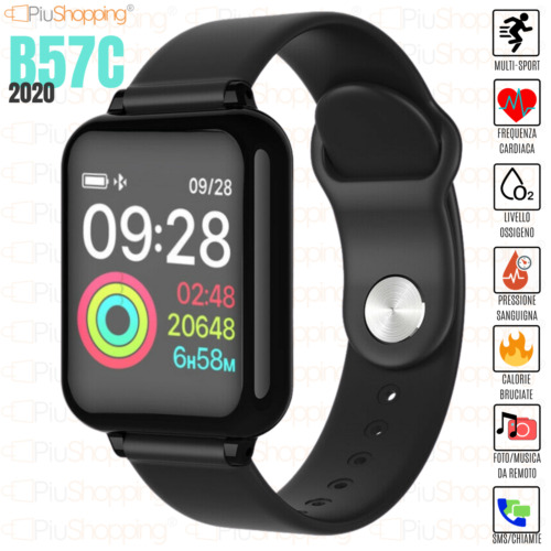 SMARTWATCH OROLOGIO B57C SMART BAND FITNESS TRACKER CARDIOFREQUENZIMETRO SPORT <br/> LUNGO STANDBY| PER IOS & ANDROID | NOTIFICHE CHAT