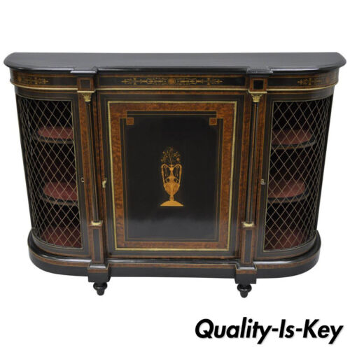 19th C. French Napoleon III Ebonized Brass Boulle Inlay Sideboard Buffet Cabinet