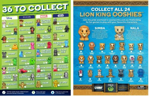 Woolworths Lion King Ooshies Various - Normal, Gold, Orange, Blue - ALL $5