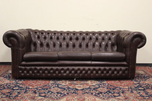 Bel divano chesterfield chester club 3 posti originale inglese UK pelle marrone