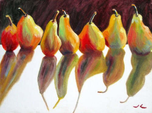 """Original Oil Painting  Pears -My Perfect Models  One of a Kind  18x24"""" Julia Lu"""