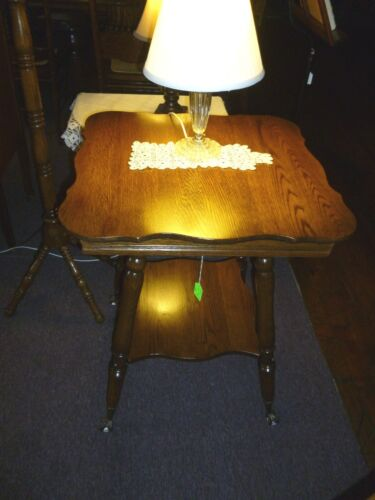 Antique Oak Table Lamp parlor plant stand refinished claw feet with glass ball